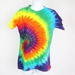 neon rainbow colored tie-dye t-shirt short sleeve